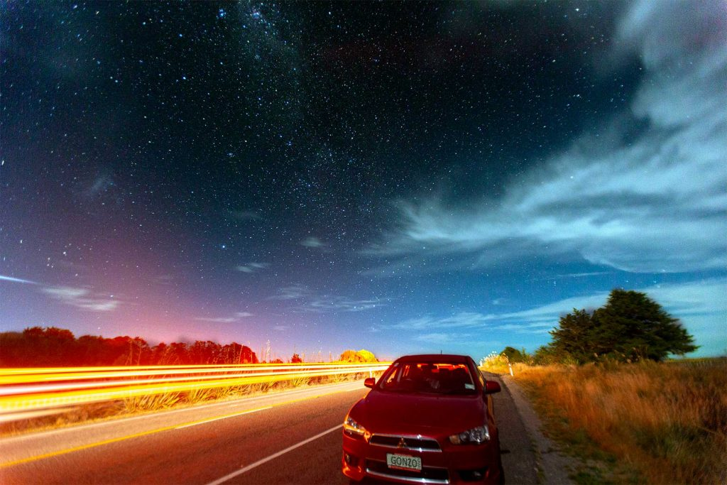 Astrophotography car light trails