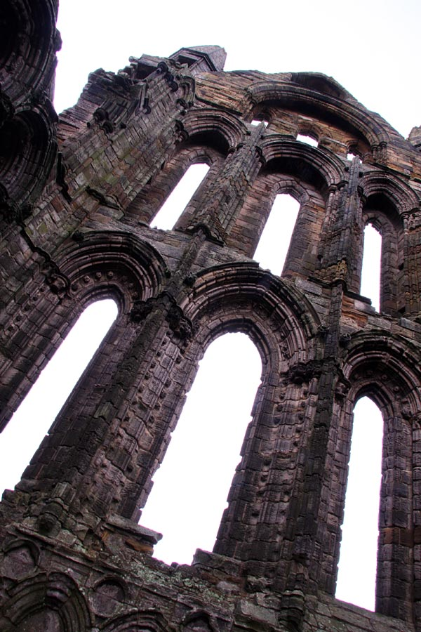 Angled view of spire at Whitby Abbey