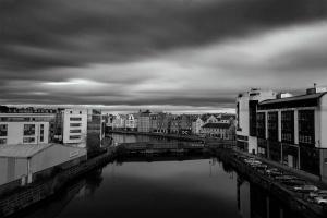 A black & white view of the Shore, Leith, Edinburgh, Scotland